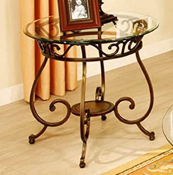 Poundex F6022 END Table 25 x25 x25 H, Bronze Clear