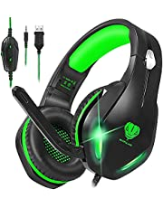 Stynice GH-2 Gaming Headphones with Microphone for Xbox One PS4 PS5 Playstation 5 PC, Wired Chatting Headset with LED Light Green