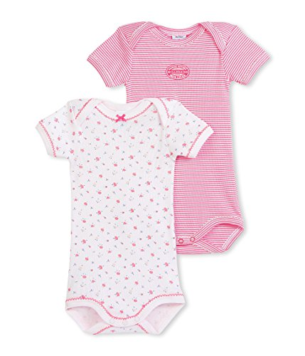 Petit Bateau Girls 2 Pack Short Sleeve Striped and Floral Print Bodysuits, Multi, 18 Months