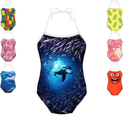 Cozeyat Dolphin Print Little Girls Bathing Suits Lovely One Piece Bikini Swimsuits for 7Y-8Y