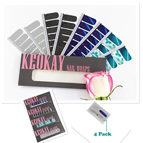 KEOKAY 4 boxes(8 Sheets) Nail Art Polish Stickers Strips With 4 Pcs Nail File 8 Packets Of Alcohol Cleaning Cotton Full Wraps Nail Adhesive Decals Colorful Manicure Kit For Women