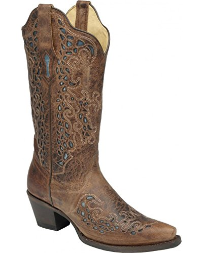 Corral Women's Turquoise Inlay Goat Cowgirl Boot Snip Toe...