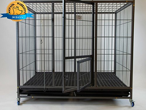 Homey Pet-49 Extra Large Heavy Duty Metal Dog Cage w/Plastic Floor Grid, Casters, Pull Out Tray and Feeding Door: L 49