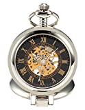 AMPM24 Unique Men Women Magnifier Skeleton Mechanical Hand Wind Pocket Watch with Chain WPK023