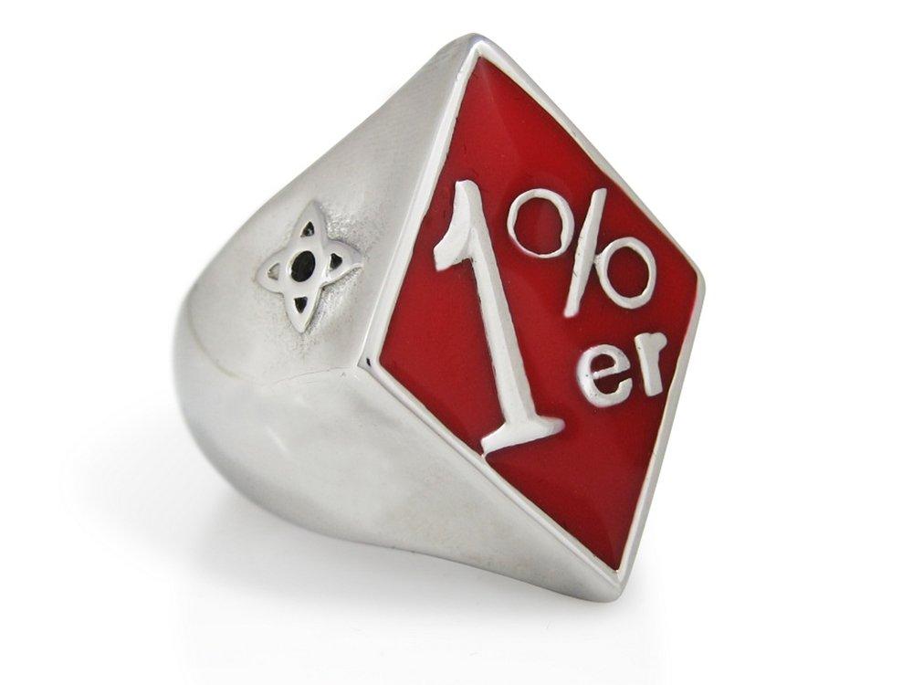 TheBikerMetal Red 1% ER Ring for 81 Harley Rider Motor Biker TR155 (9)