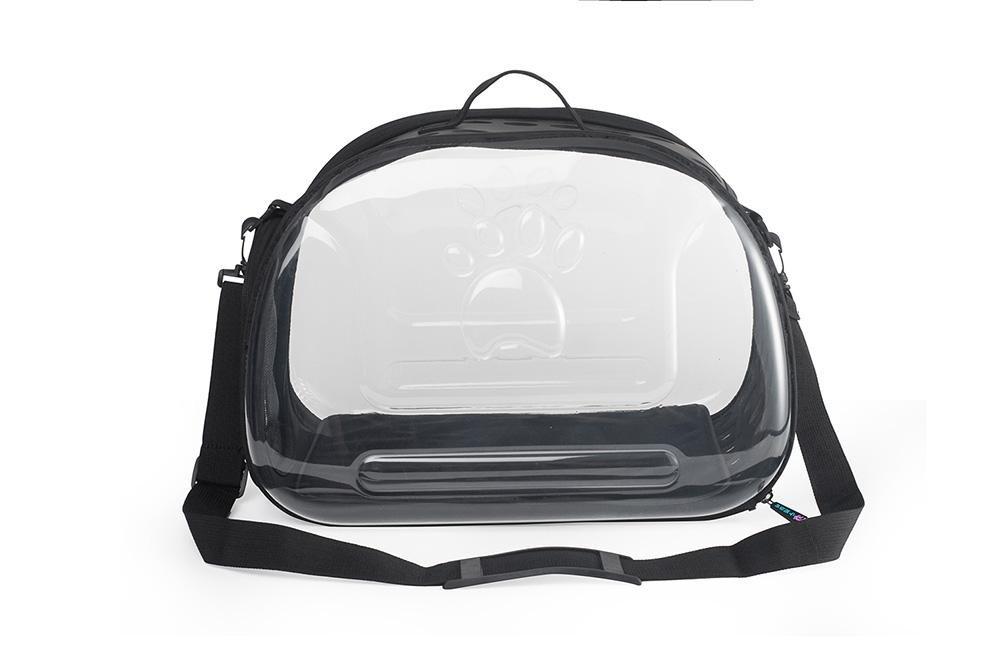 Black Fashion Design Clear Folding Pet Carrier Bag Breathable Outdoor For Dog Cat Comfort Travel, Lightweight Puppy Travel Carry Cage Portable Sling Shoulder Handbag , black