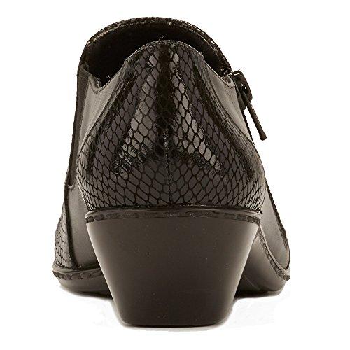 Walking Cradles Dames Cadens Slip Op Zwart Leer / Zwart Patent Snake Print