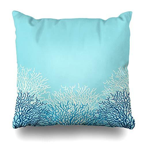 Ahawoso Throw Pillow Cover Square 24x24 Inches Abstract Blue Pattern Sea Life Corals Color Ocean Reef Caribbean Border Sealife Nautical Design Zippered Cushion Pillow Case Home Decor Pillowcase ()