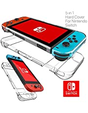 For Nintendo Switch Transparent Clear Shockproof Protective Hard Case Cover 5 in 1 Compatible with Nintendo Switch Joy-Con