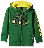 John Deere Boys' Little Fleece Hoody Zip Front, Green Tractor, 4