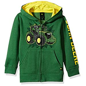 John Deere Tractor Little Boy Zip Front Fleece Hoody Sweatshirt