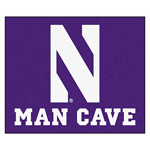 NCAA Northwestern University Man Cave Tailgater Rug, 60'' x 72''/Small, Black by Fanmats