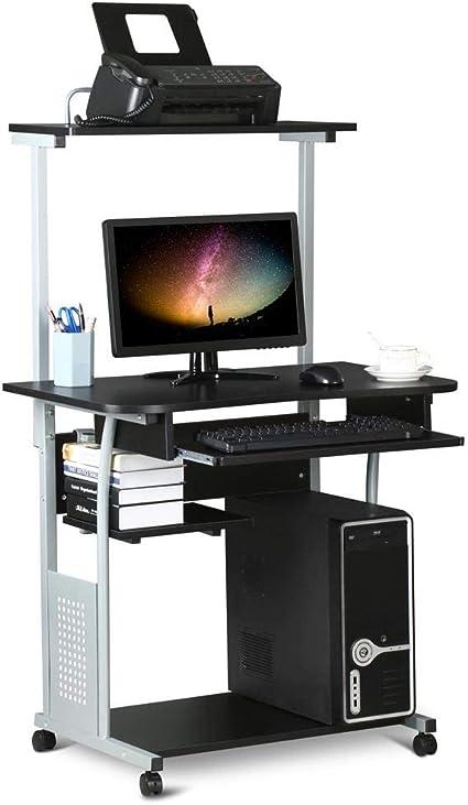 Yaheetech Mesa de Ordenador con Ruedas Estanterías 80 x 50 x 132 cm con Bandeja de Teclado Estante de Impresora Escritorio para Espacio Límite