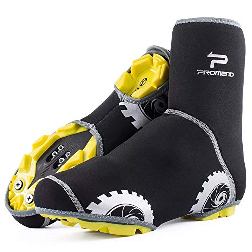 Jurus Bike Shoes Cover, Cycling Overshoes Windproof Warm Protection for Road Mountain Bike (Black, L(8M-10M US Men))