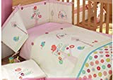 AUSTTBABY Baby Bedding Set Cotton 3D Embroidery Bird Flowers Quilt Pillow Bumper Bed Cover 5 Pieces Set White Pink