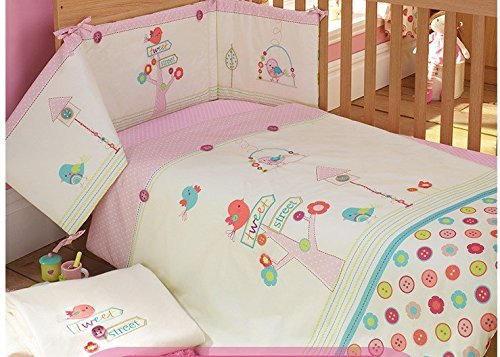 AUSTTBABY Baby Bedding Set Cotton 3D Embroidery Bird Flowers Quilt Pillow Bumper Bed Cover 5 Pieces Set White Pink by AUSTTBABY