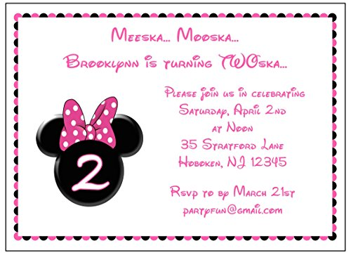 Set of 10 Pink Minnie Mouse Girls Birthday Party Invitations - All Wording Customized. First Birthday, Second Birthday, etc.]()