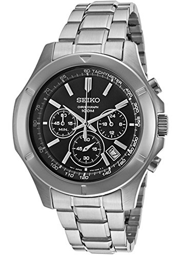 Seiko Chronograph Black Dial Stainless Steel Mens Watch SSB105 by Seiko Watches