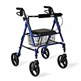 Medline Aluminum Folding Rollator Walker with 8'' Wheels and Basket, Blue