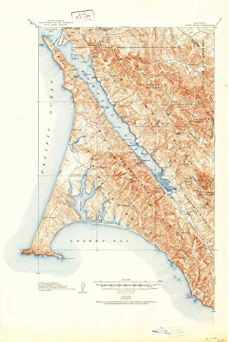 YellowMaps Point Reyes CA topo map, 1:62500 Scale, 15 X 15 Minute, Historical, 1918, Updated 1951, 26.9 x 18 in - Polypropylene