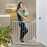 North States 40.55' Wide Essential Stairway & Walkway Baby Gate: Ideal for Standard stairways. Sturdy Metal with Swing Control Hinge. Hardware Mount. Fits Openings 24.5'-40.55' Wide (30' Tall, White)