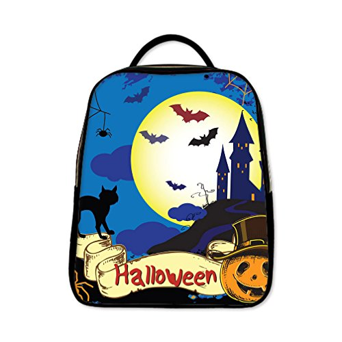 JIUDUIDODO Custom Cool Halloween Evil Jack with Bat PU Leather School Bag Outdoor Bag Backpacks Casual (Halloween Cutouts For Pumpkin Carving)
