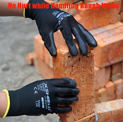 XSHIELD 17-PUG,Polyurethane/Nylon Safety WORK Glove,BLACK,12 Pairs (Large) by XSHIELD (Image #3)