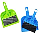 SpiderJuice Multipurpose Mini Dustpan Supdi with Brush Broom Set for Cleaning Laptops, Keyboards, Dining Table, Car Seats, Carpets (Pack of 2, Small, Random Color)