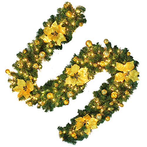 Hootech 9 Feet Christmas Garland with Lights and Balls Artificial Pine Wreath Garland Battery Powered Xmas Decorations for Wall Door Stair (1pc, (Gold Pine Wreaths)
