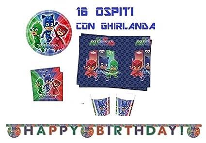 Arcobalenoparty – Juego para fiesta de cumpleaños de PJ Mask para 16 invitados
