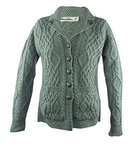 100% Irish Merino Wool Revere Button Collar Sweater, Thundra (Green),Large