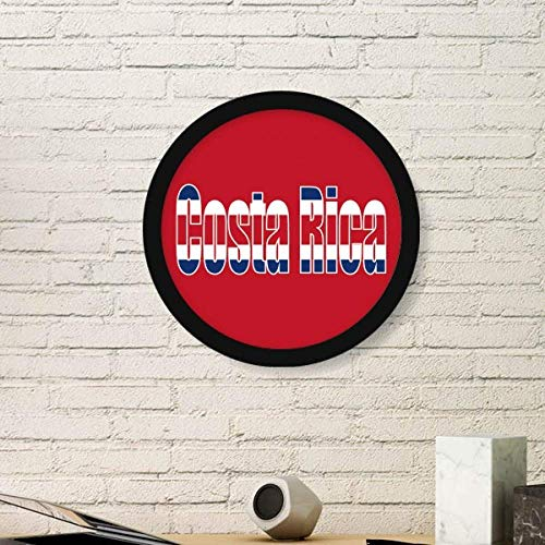 (DIYthinker Costa Rica Country Flag Name Art Painting Picture Photo Wooden Round Frame Home Wall Decor Gift)