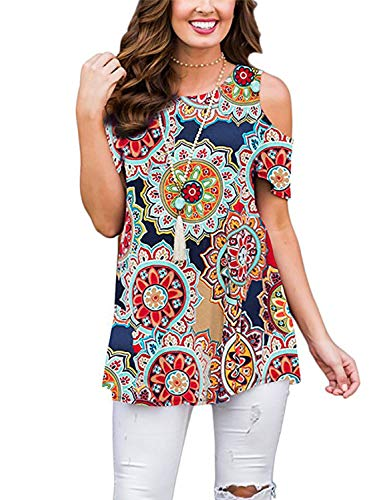 Tanst Sky Nice Shirts for Women, Plus Size Clothing Fashionable Cute Dress Blouse Breezy Pattern Printed Tunic Crew Neck Trendy Flattering Top Loose Fit Style Holiday T Shirt Geometric Flowers XXL ()