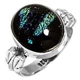 Dichroic Glass Gemstone Ring Solid 925 Sterling Silver Modern Jewelry Size 6