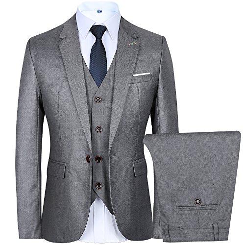 Men's 3 Piece Suit One Button Single-Breasted Notch-Lapel Slim Fit Tux (XXL, Grey)