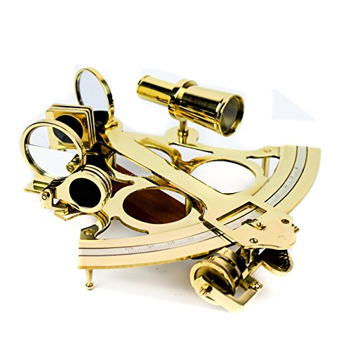 Nautical Brass Polished & Antique Marine Navigation Sextant | Nagina International (9 Inches, Polished Brass) (Ultra Brass Polished Accents)