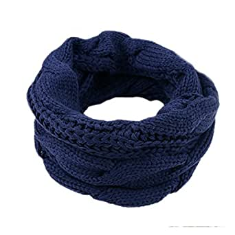 IvyFlair Unisex Winter Thick Chunky Cable Knit Infinity Loop Scarf, Navy