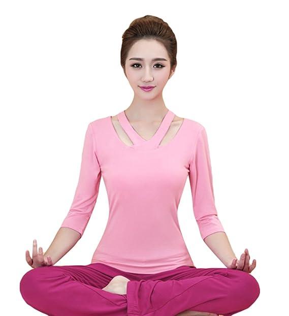 Sentao Mujeres Conjuntos Deportes Slim Camisetas Tops Yoga Pilates Pantalones 2 Piezas Yoga Leggings: Amazon.es: Ropa y accesorios