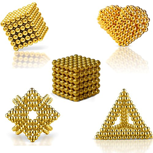 MagneBalls 5MM Magic Ball Set for Office Stress Relief |Desk Sculpture Toy Perfect for Crafts, Jewelry, Education |Fidget Cube Provides Relief for Anxiety, ADHD, Autism, Boredom (Gold) by MagneBalls (Image #1)