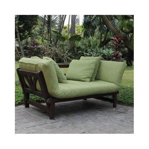 Studio Outdoor Converting Patio Furniture Sofa, Couch, and Love Seat Folding Lounge Chair, Brown with Green Cushions For Sale