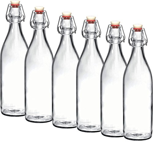 Bormioli Rocco Giara Clear Glass Bottle With Stopper Swing Top Bottles Great for Beverages, Oil, Vinegar | 33 3/4 oz (Set of 6) by Bormioli Rocco