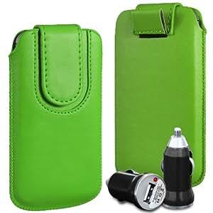 Direct-2-Your-Door - Nokia Lumia 635 superior de la PU del cuero del caso del tirón de la bolsa con Tire Tab cierre magnético y USB cargador de coche Bullet - Verde