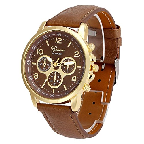Pocciol Watches, 2018 New Waterproof Unisex Casual Geneva Faux Leather Quartz Analog Wrist Watch Clock Fashion (Khaki)