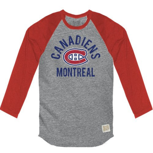 NHL Montreal Canadiens Men's Long Sleeve Heather Tri-Blend Raglan Shirt, XX-Large, Heather/Red