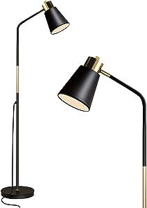 Floor Lamp, Industrial Floor Lamp for Living Rooms & Bedrooms - Rustic Farmhouse Reading Lamp - Standing, Adjustable Metal Heads Indoor Task Lighting for Living Room Bedroom Office Home Décor (Black)