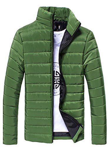 Generici Uomini Piumini Basamento Packable Verde Nerastro Inverno Puffer Collare Di nWaBnqfw