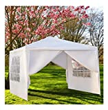 Leoneva 9'10'' x 9'10'' Four Sides Portable Shade Waterproof Tent for Outdoor Party Wedding Commercial Activity Pavilion BBQ Beach Car Shelter White (Four Sides)