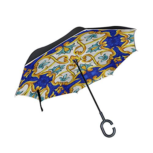 - KUneh Double Layer Inverted Ornament On Italian Tiles Majolica Cyan Umbrellas Reverse Folding Umbrella Windproof Uv Protection Big Straight Umbrella for Car Rain Outdoor with C-Shaped Handle