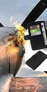 """A-type (Plano Flaming"""") Colorida Impresión Funda Cuero Monedero Caja Bolsa Cubierta Caja Piel Card Slots Para Sony Xperia Z2 D6502"""