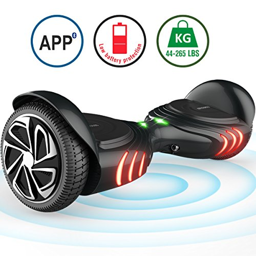 TOMOLOO Hoveboard with Bluetooth Speaker and Light - Black Hover Board with App UL2272 Certified for 265 lbs MAX Weight